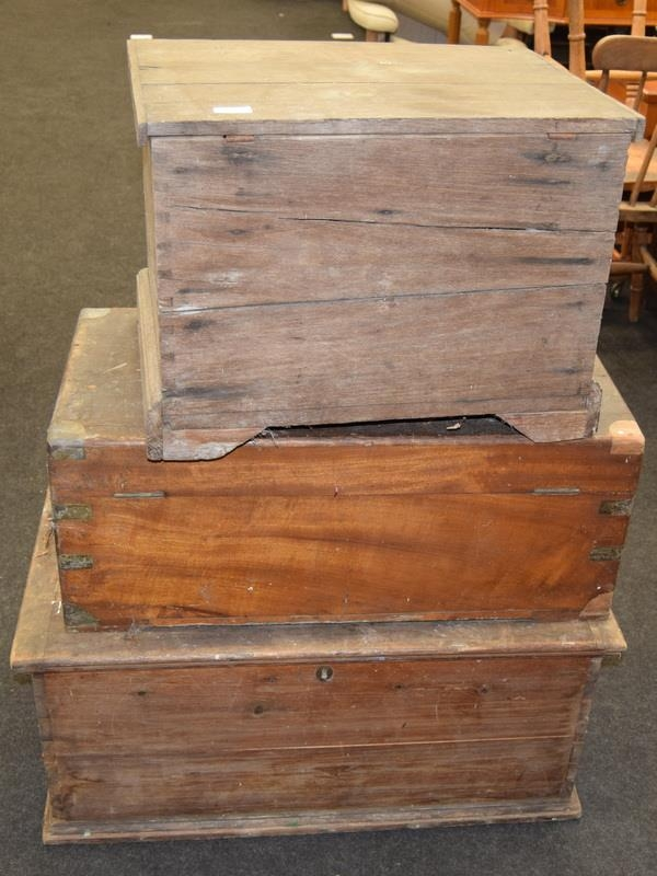Three vintage wooden chests. Largest size 81cm wide x 47cm deep x 35cm tall. - Image 2 of 3