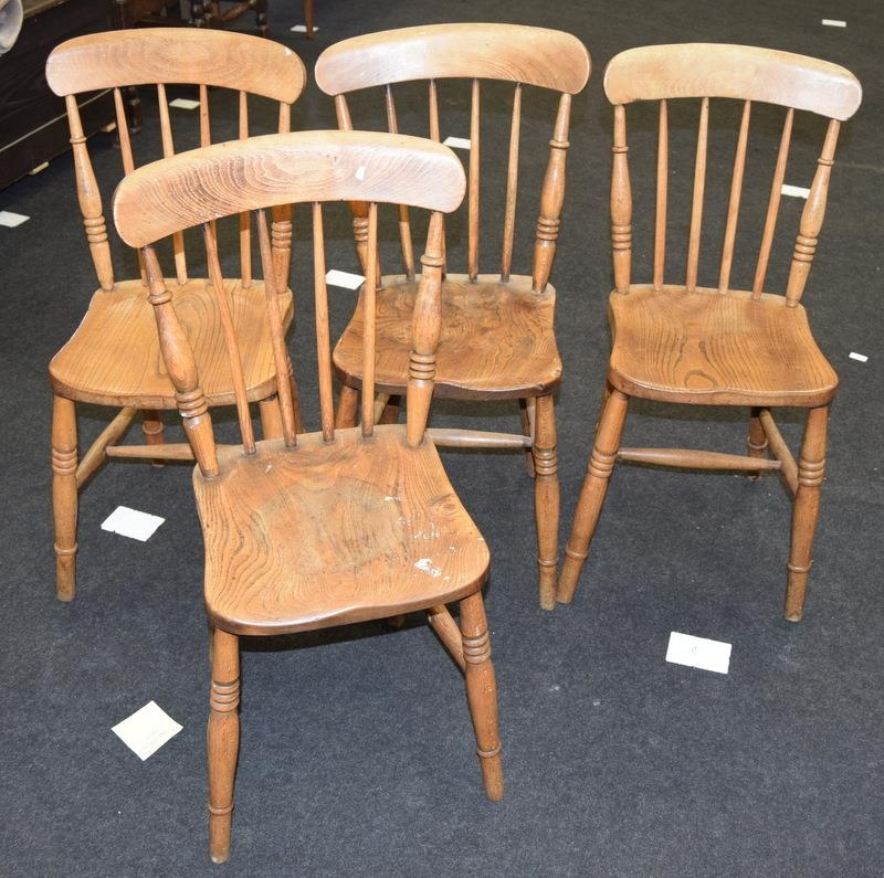 Set 4 stick back farmhouse country chairs mon turned supports 85x35x35cm