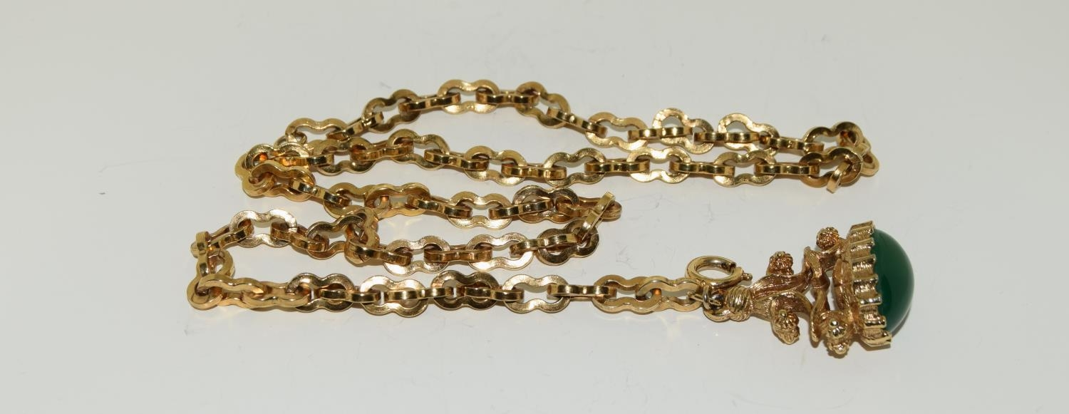 Gilded watch chain and fob set with a cabochon jade stone - Image 5 of 6