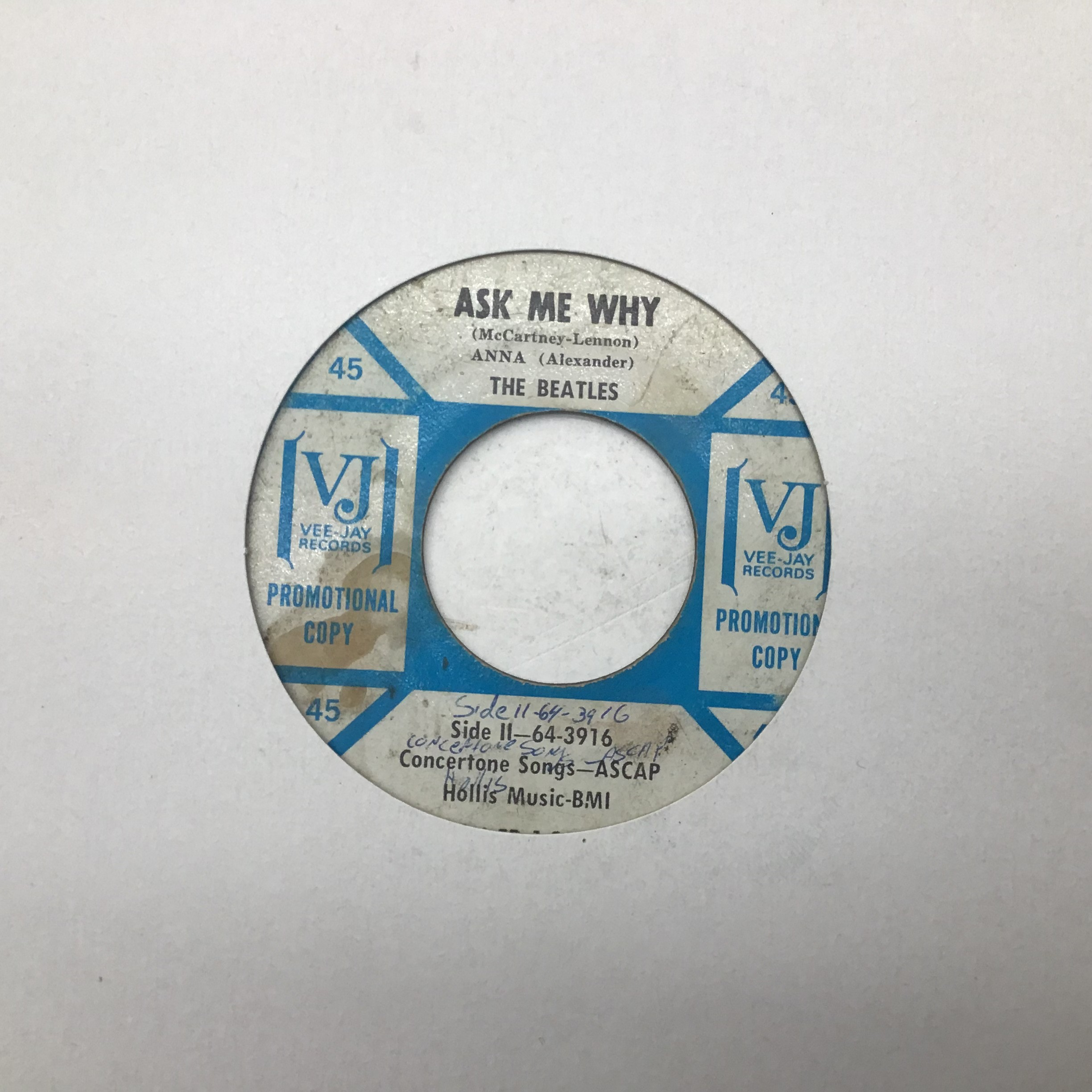"""THE BEATLES ON VEE JAY 7? PROMO. ?Souvenir of Their Visit to America"""" 1964 release containing the"""