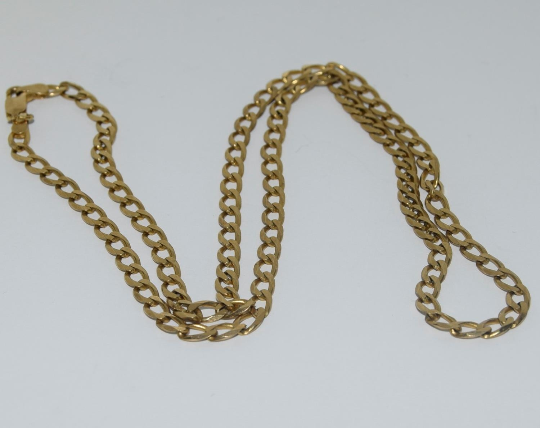9ct gold flatlink chain 52cm long 10gm - Image 2 of 5
