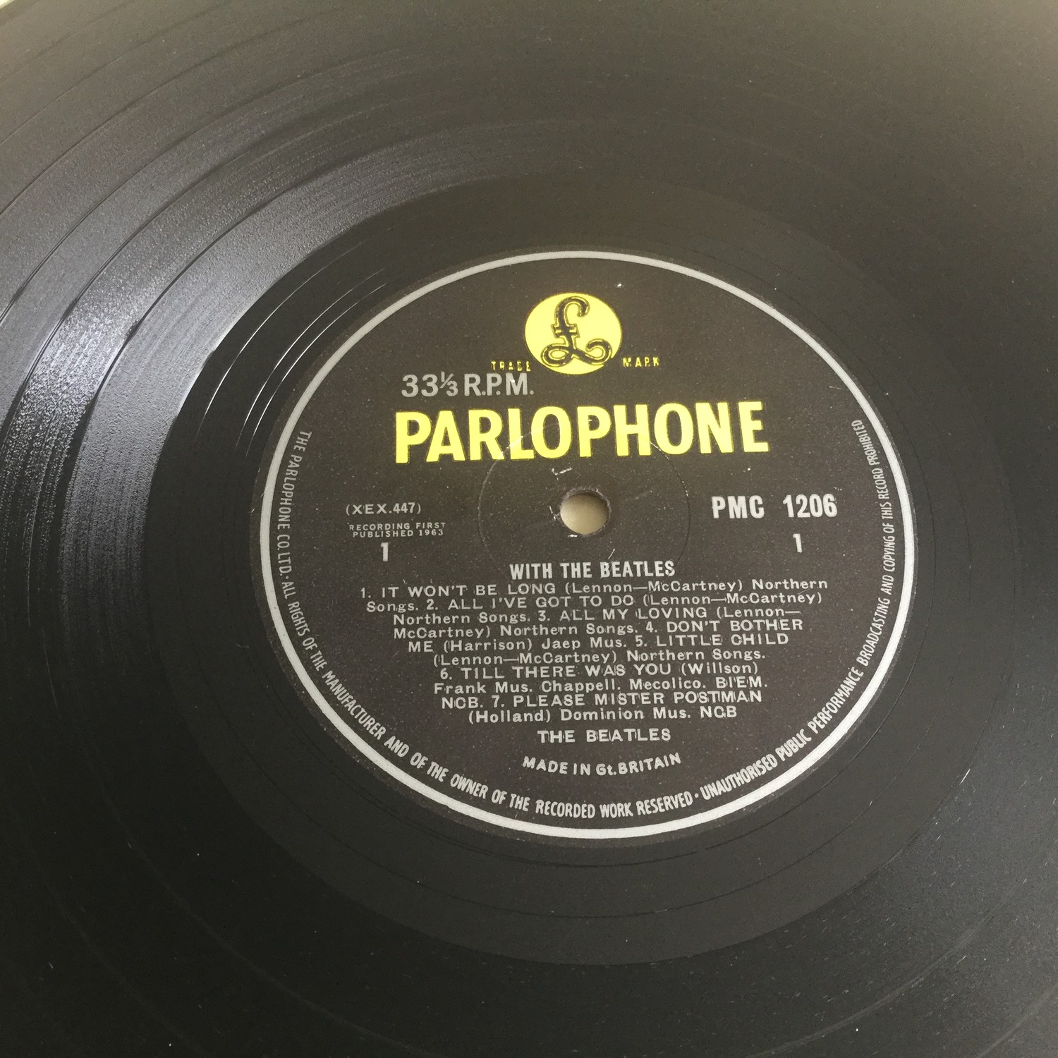 BEATLES 'WITH THE BEATLES' LP RECORD. Spelling mistake here on side 2 label with 'Got A' instead - Image 4 of 4