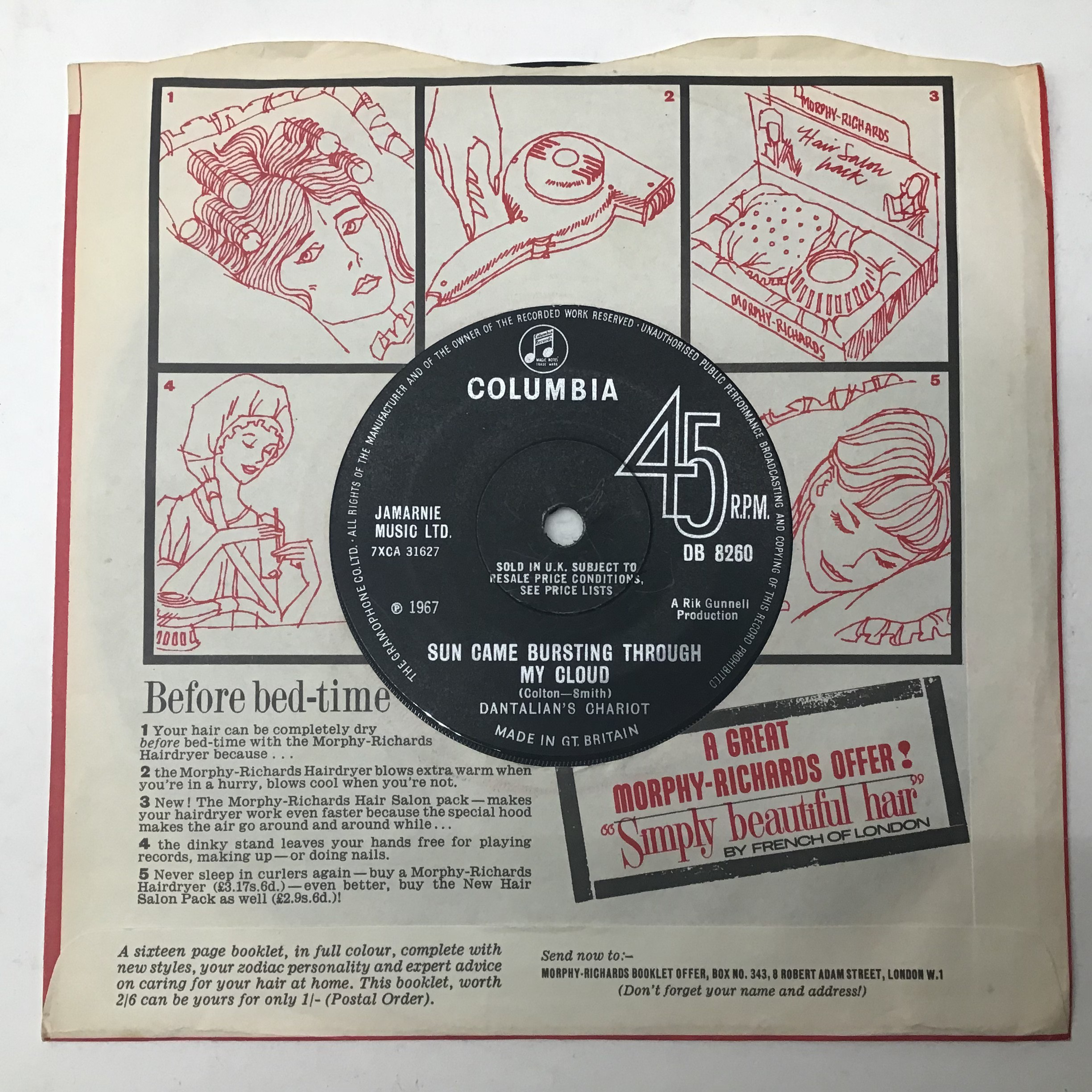 DANTALIAN'S CHARIOT 7? psych single vinyl record. ?The Madman Running Through The Fields? on - Image 2 of 4