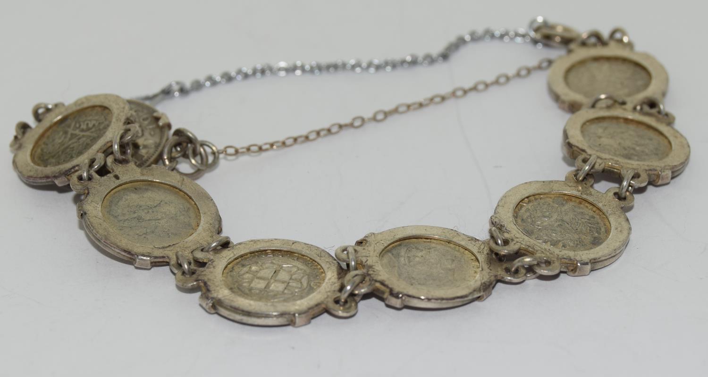 Silver ladies coin bracelet