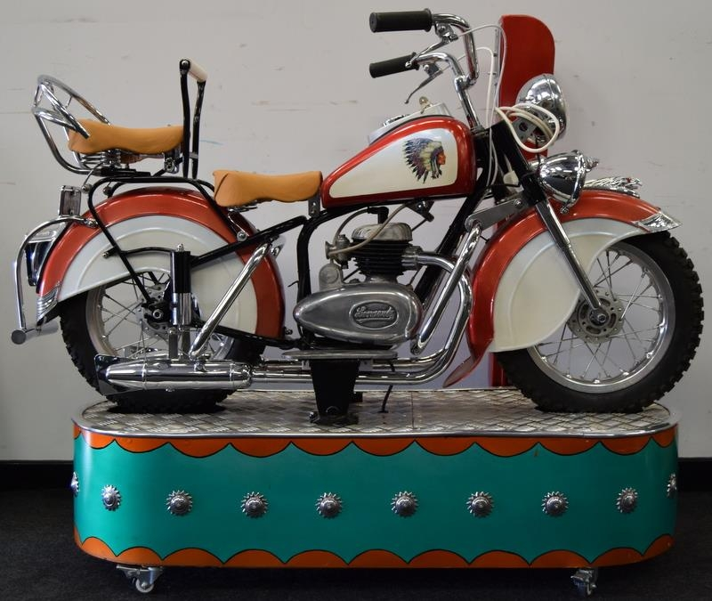 Lenaerts Indian Motorcycle Arcade Ride fully restored 1950 child's ride. Made by Edwin Hall & Co - Image 8 of 8