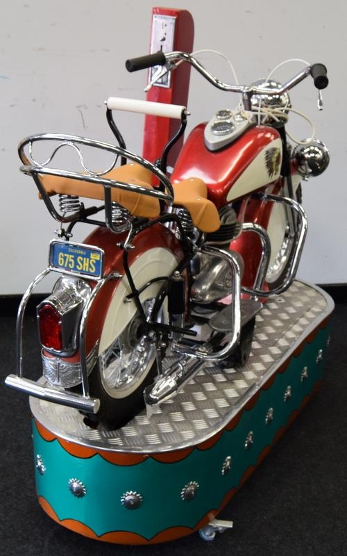 Lenaerts Indian Motorcycle Arcade Ride fully restored 1950 child's ride. Made by Edwin Hall & Co - Image 7 of 8