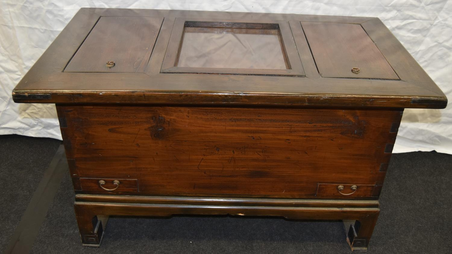 Chinese dark wood hot food serving cabinet with glazed copper lined centre well 98cm wide x 55cm