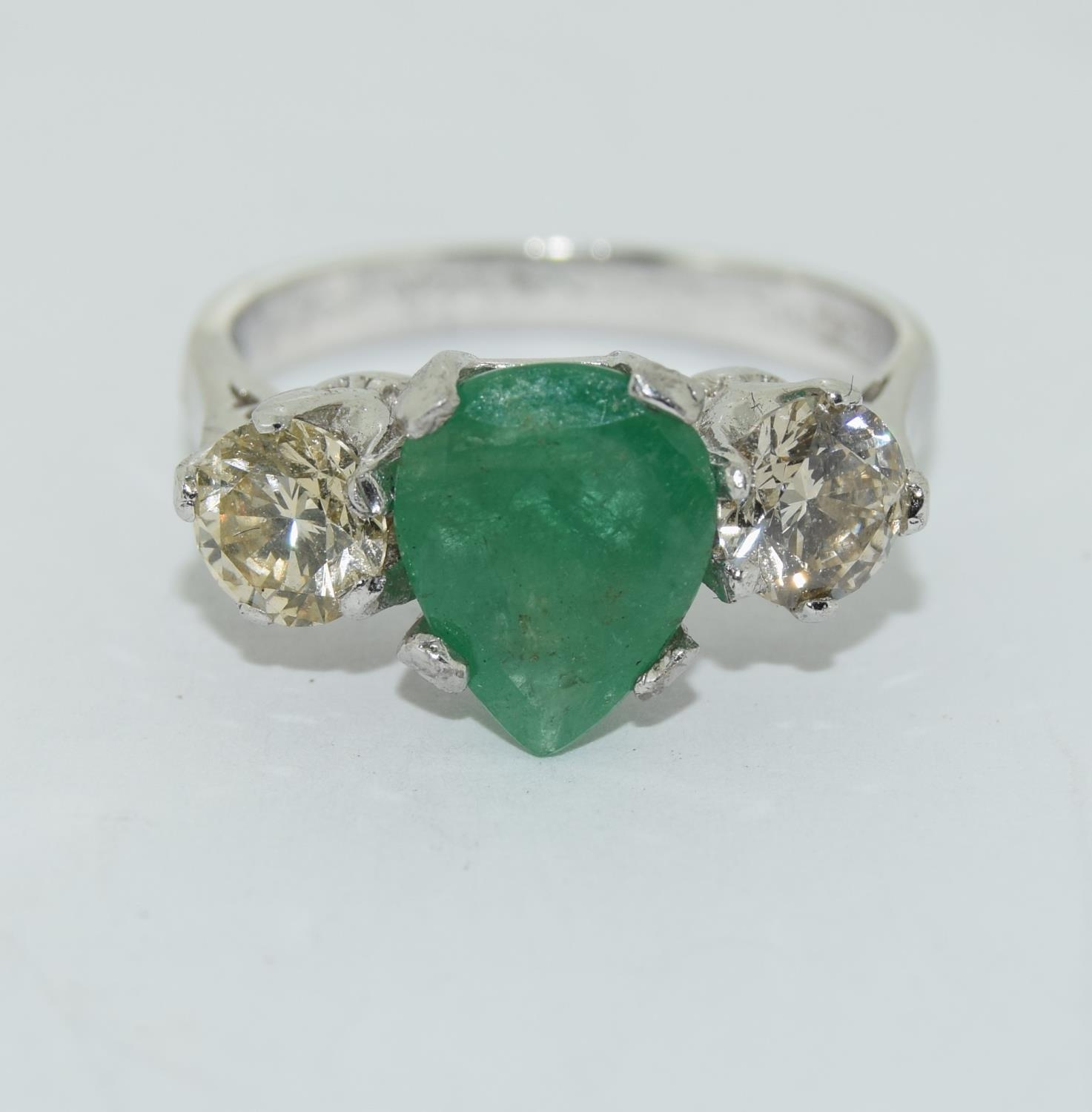 18ct white gold pear shape emerald and diamond ring of approx 1.2ct size L