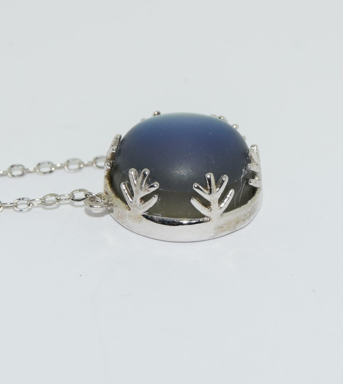 Colourful Mystic Moonstone 925 silver pendant. - Image 2 of 3