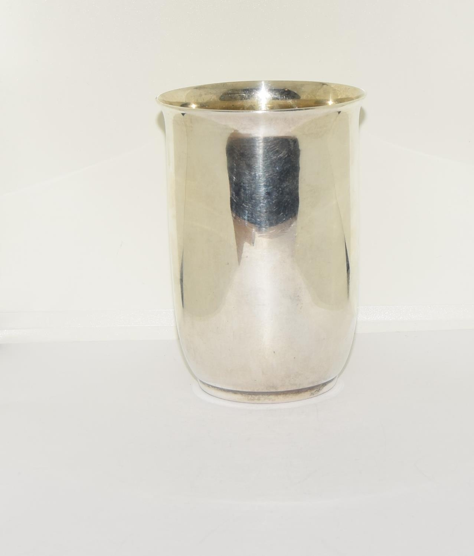 925 silver beaker with gilt linning 10x7cm 120gm