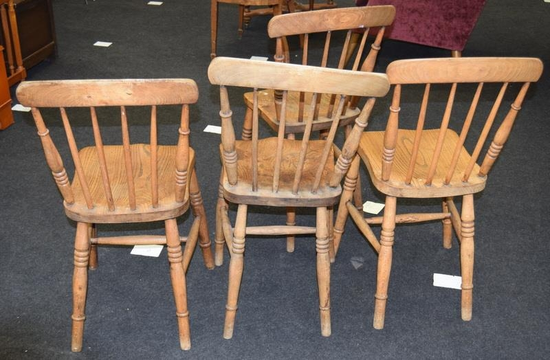 Set 4 stick back farmhouse country chairs mon turned supports 85x35x35cm - Image 2 of 2