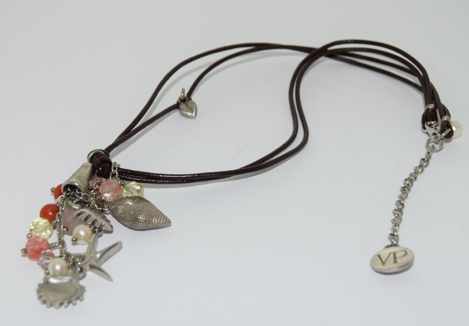 Van Peterson 925 silver agate leather necklace