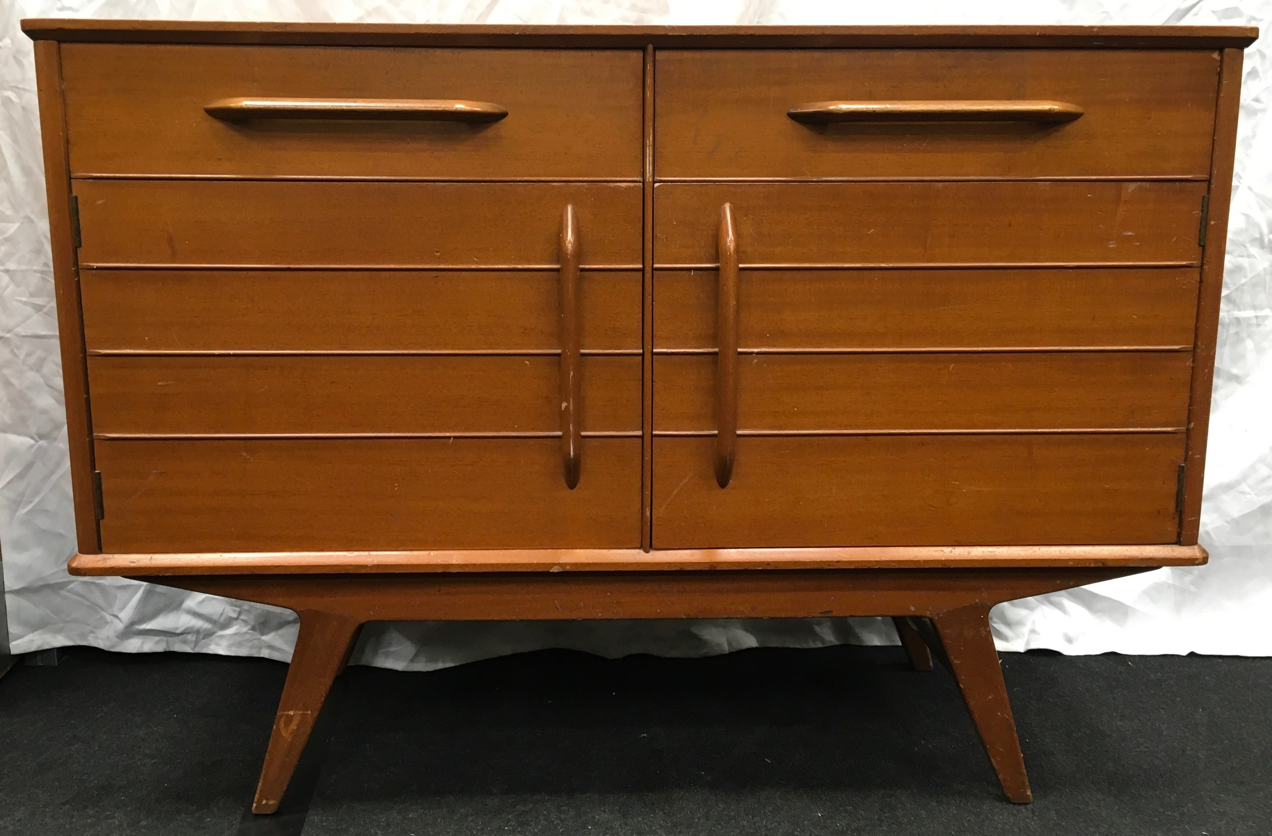 Teak mid 20th century two drawer two door sideboard by E Gomme Wycombe with makers mark 124x47x90cm.