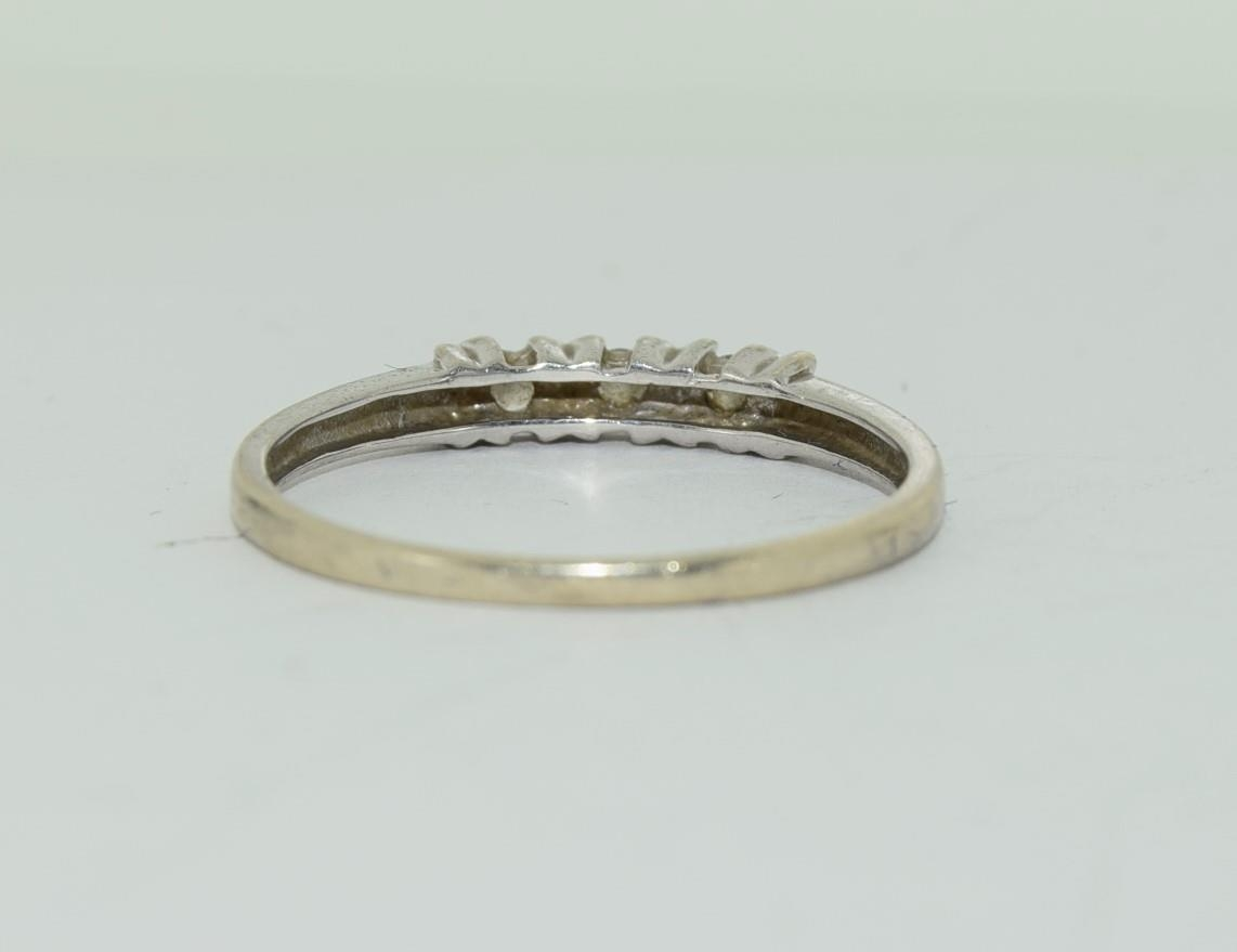 9ct white gold diamond 3 stone ring h/m for 0.1ct size Q - Image 6 of 12