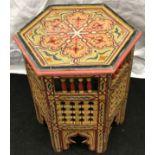 Small hexagonal topped Moorish table 48x39x39cm.