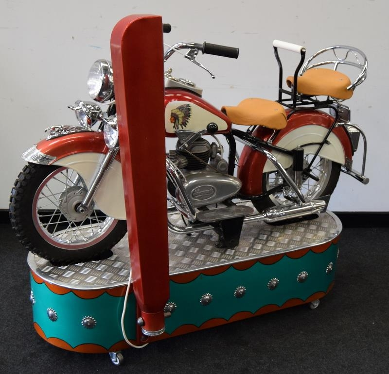 Lenaerts Indian Motorcycle Arcade Ride fully restored 1950 child's ride. Made by Edwin Hall & Co - Image 5 of 8