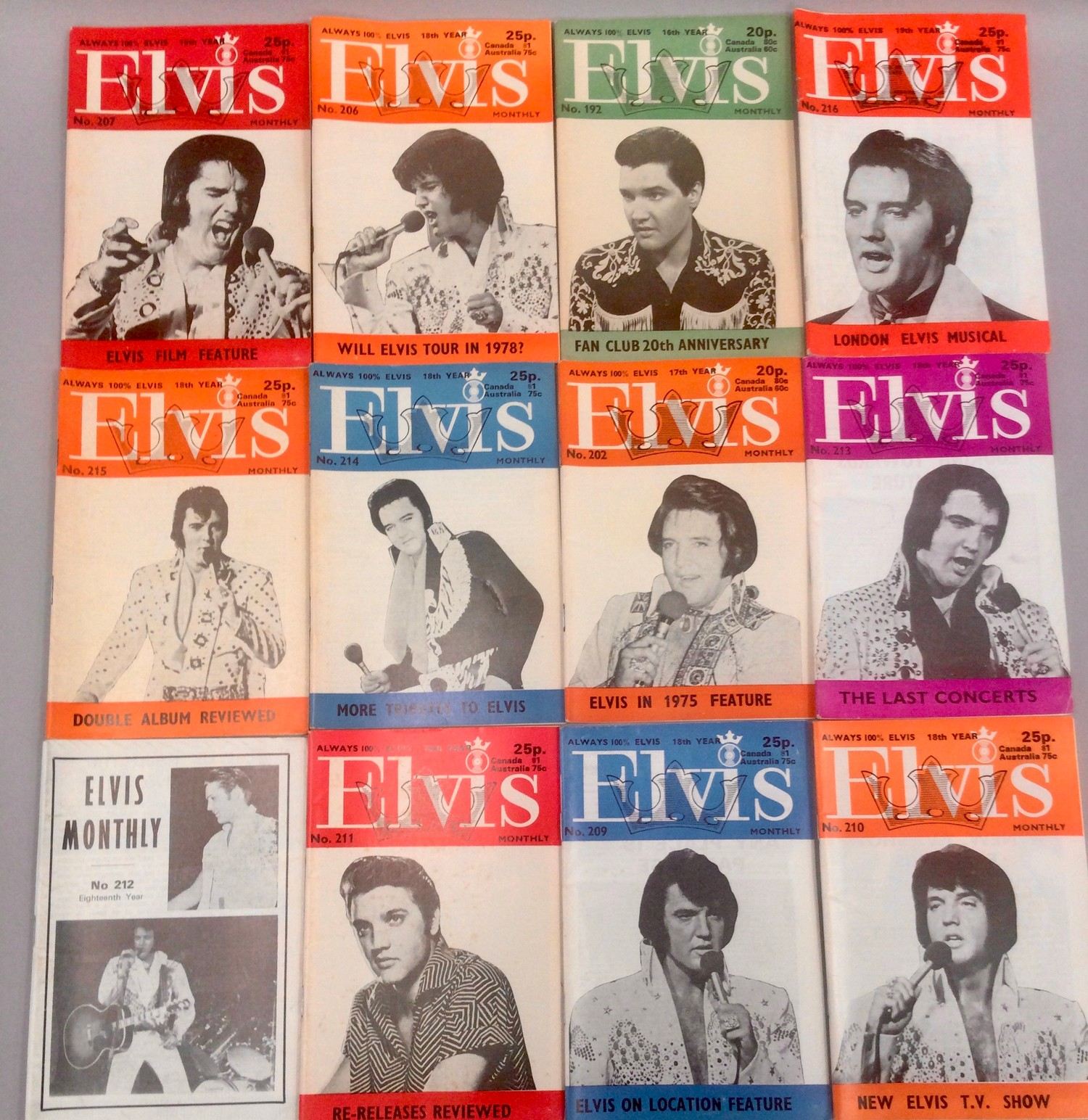 ELVIS PRESLEY COLLECTION OF FAN MAGAZINES. 13 copies of Elvis Mail mags - 27 copies of Elvis