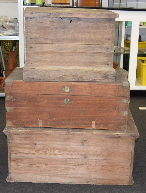 Three vintage wooden chests. Largest size 81cm wide x 47cm deep x 35cm tall.