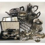 Collection of silver plate to include silver
