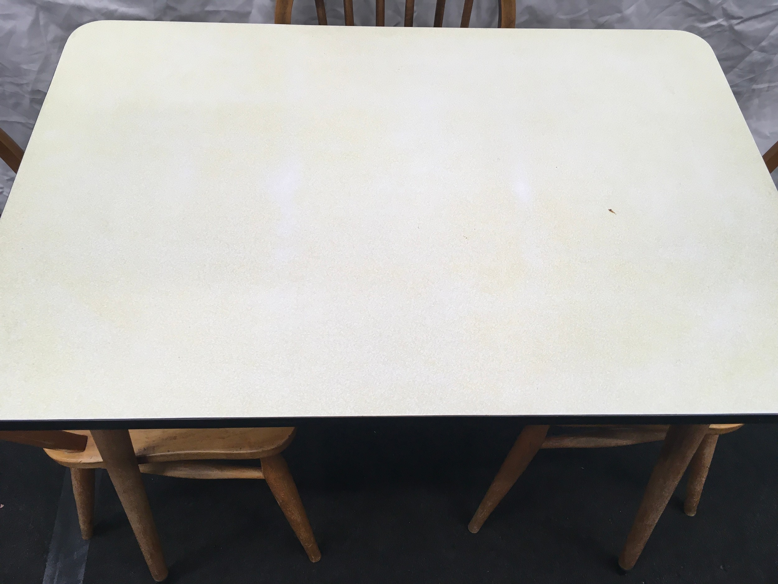 Vintage 1960's formica topped kitchen table. 91cm wide x 60cm deep x 78cm tall together with three - Image 2 of 3