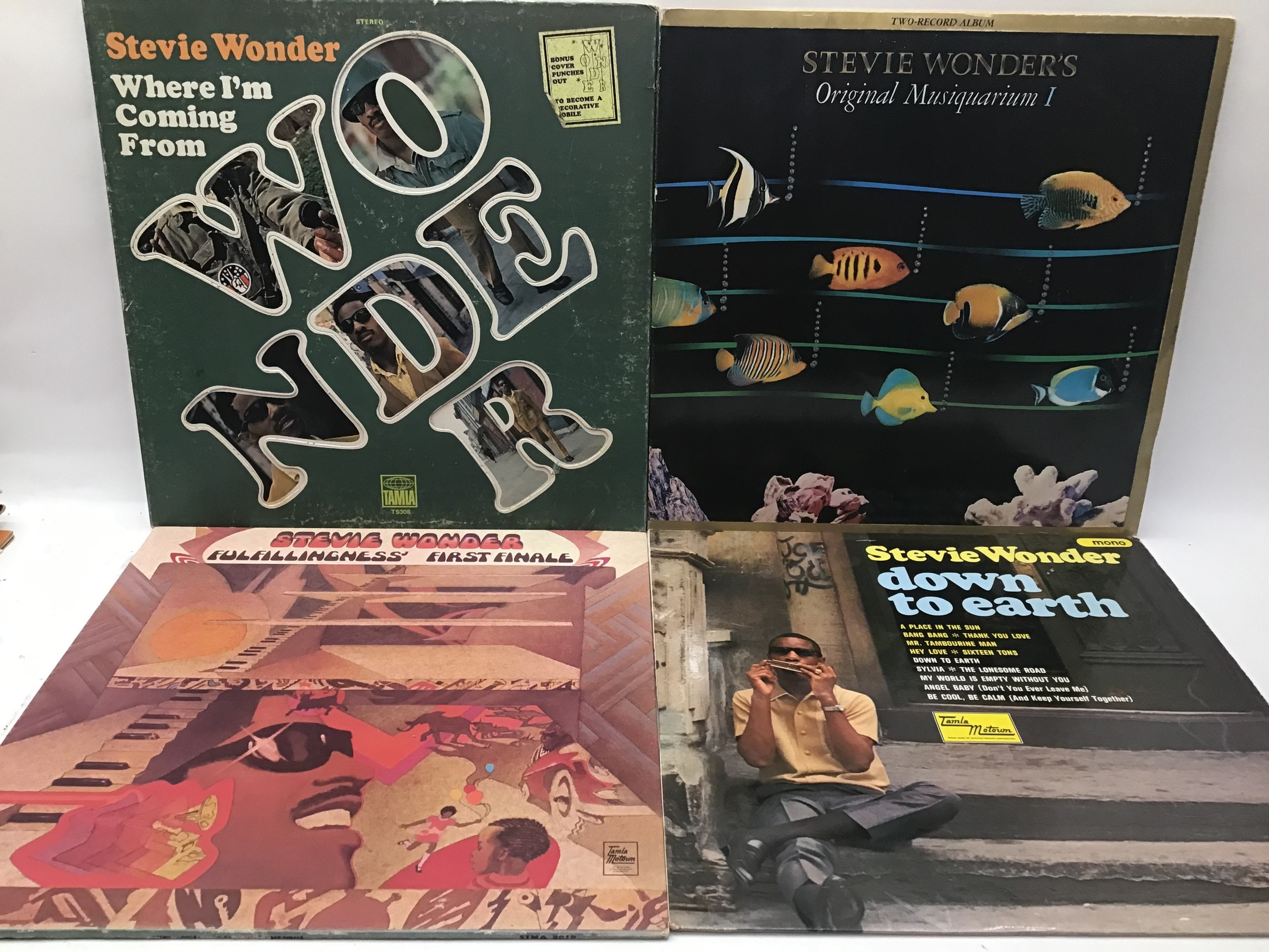 STEVIE WONDER VINYL LP RECORDS X 7. Found here in VG+ conditions with a demo copy of ?Where I?m - Image 2 of 5