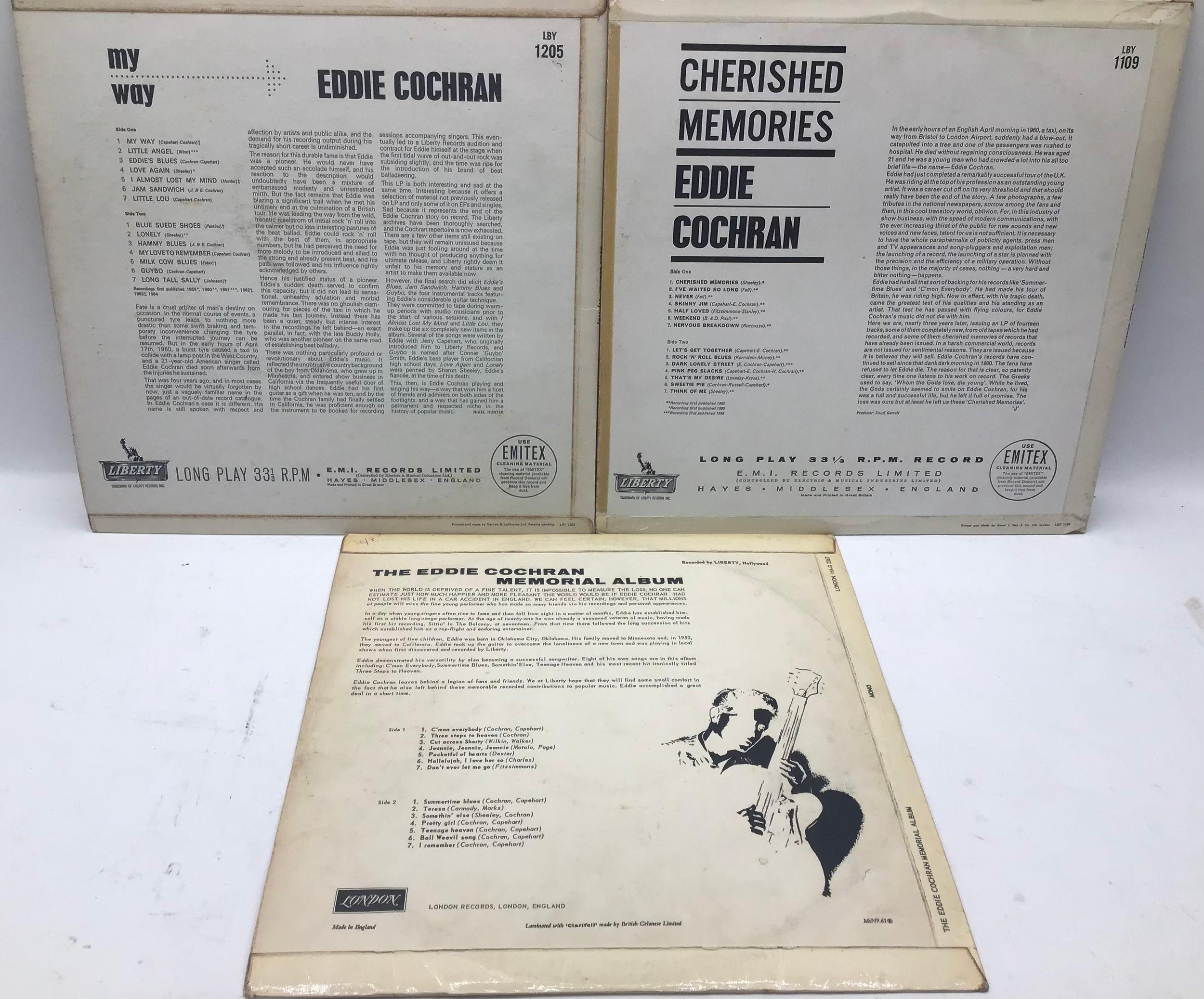 3 EDDIE COCHRAN original vinyl LP records. Album titles as follows : My Way - Cherished Memories and - Image 2 of 2