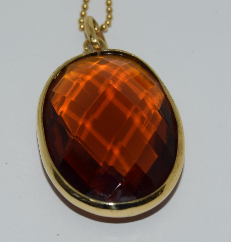 Gold amber quartz pendant necklace. - Image 5 of 5