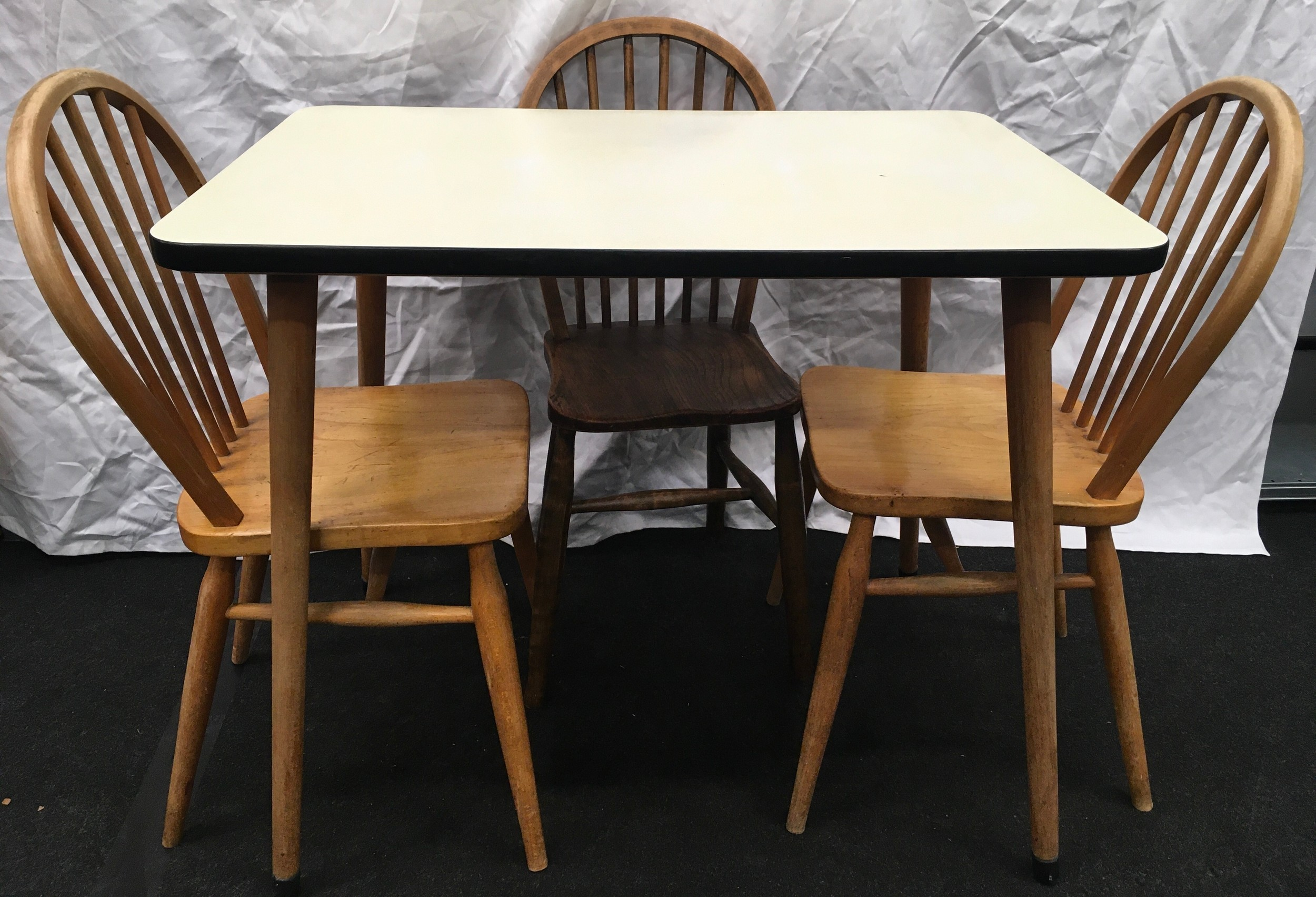Vintage 1960's formica topped kitchen table. 91cm wide x 60cm deep x 78cm tall together with three