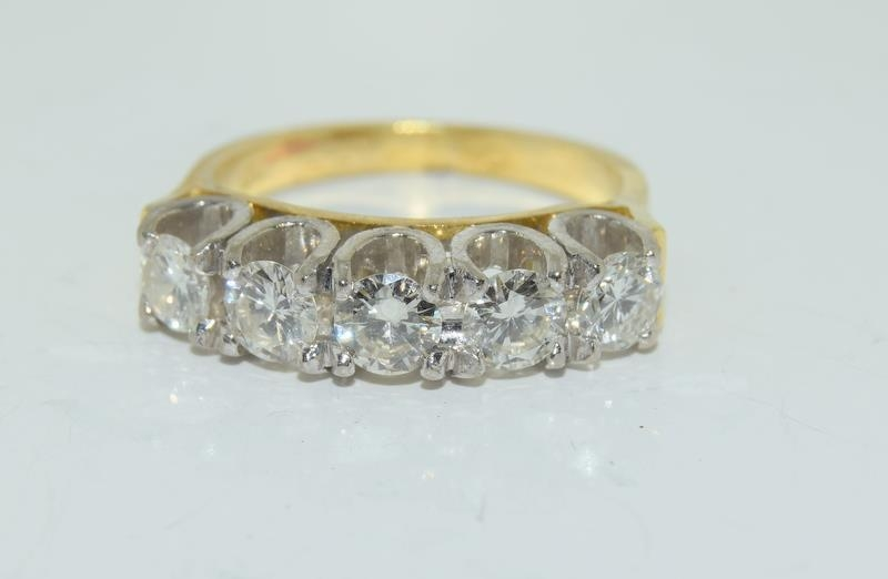 9ct gold ladies 5 stone diamond ring size L , centre stone measures 4mm approx 1.15ct total