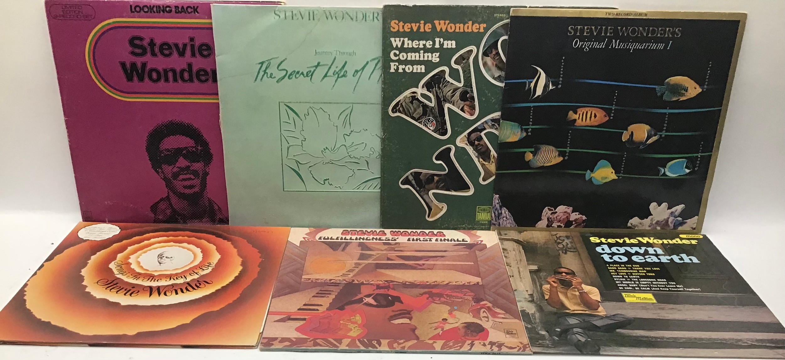 STEVIE WONDER VINYL LP RECORDS X 7. Found here in VG+ conditions with a demo copy of ?Where I?m