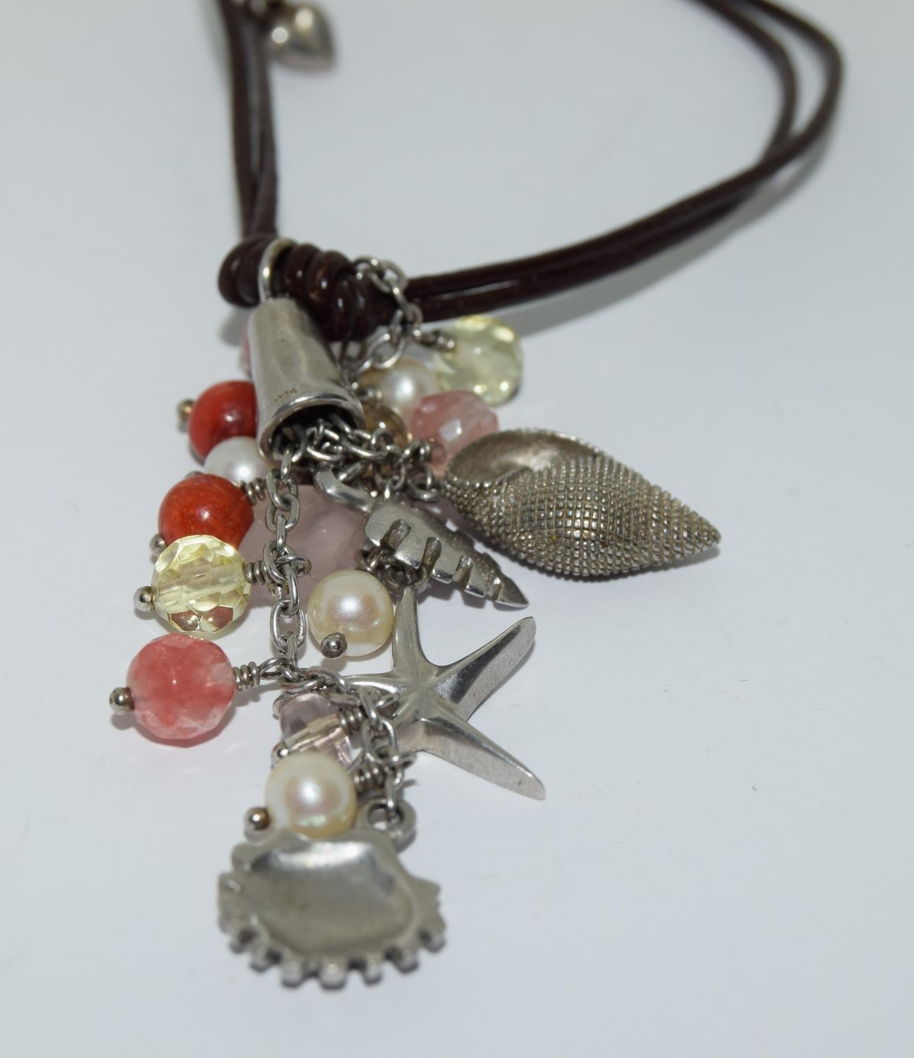Van Peterson 925 silver agate leather necklace - Image 2 of 3