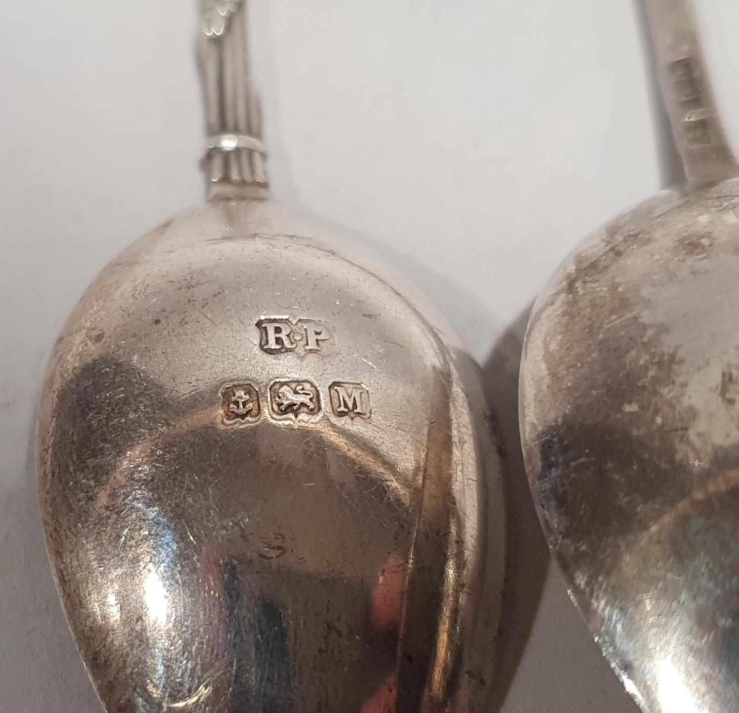 Collection of eight small silver spoons together with a silver rimmed crystal glass vase. - Image 5 of 8
