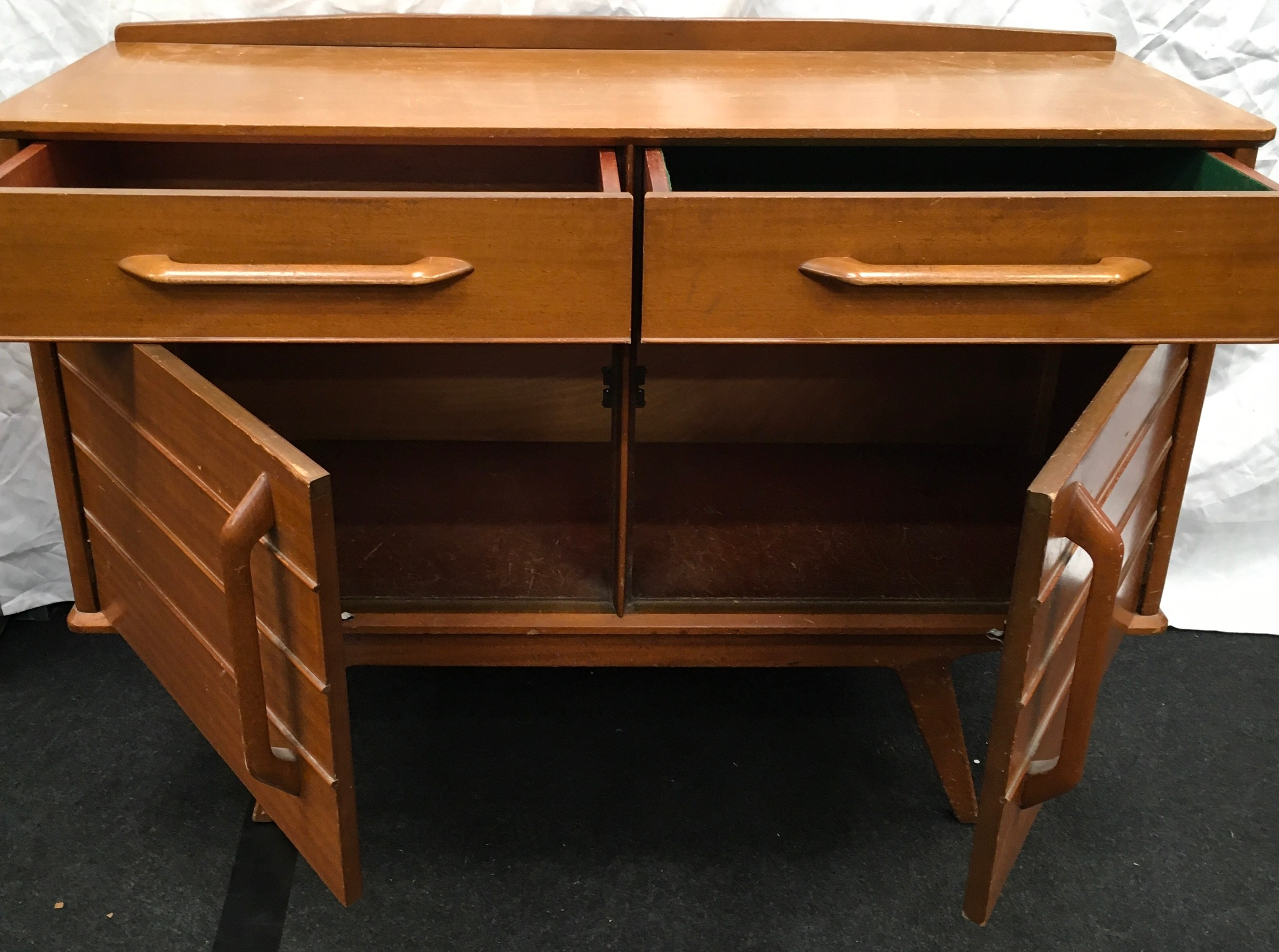 Teak mid 20th century two drawer two door sideboard by E Gomme Wycombe with makers mark 124x47x90cm. - Image 2 of 4