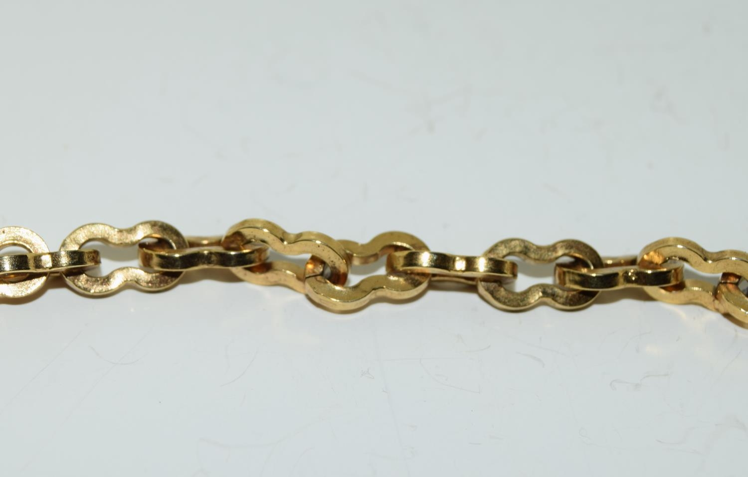 Gilded watch chain and fob set with a cabochon jade stone - Image 4 of 6