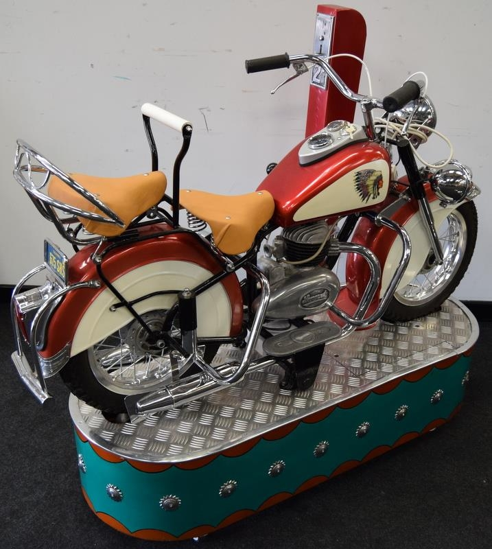Lenaerts Indian Motorcycle Arcade Ride fully restored 1950 child's ride. Made by Edwin Hall & Co - Image 2 of 8