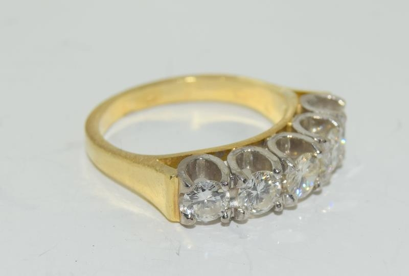 9ct gold ladies 5 stone diamond ring size L , centre stone measures 4mm approx 1.15ct total - Image 4 of 6