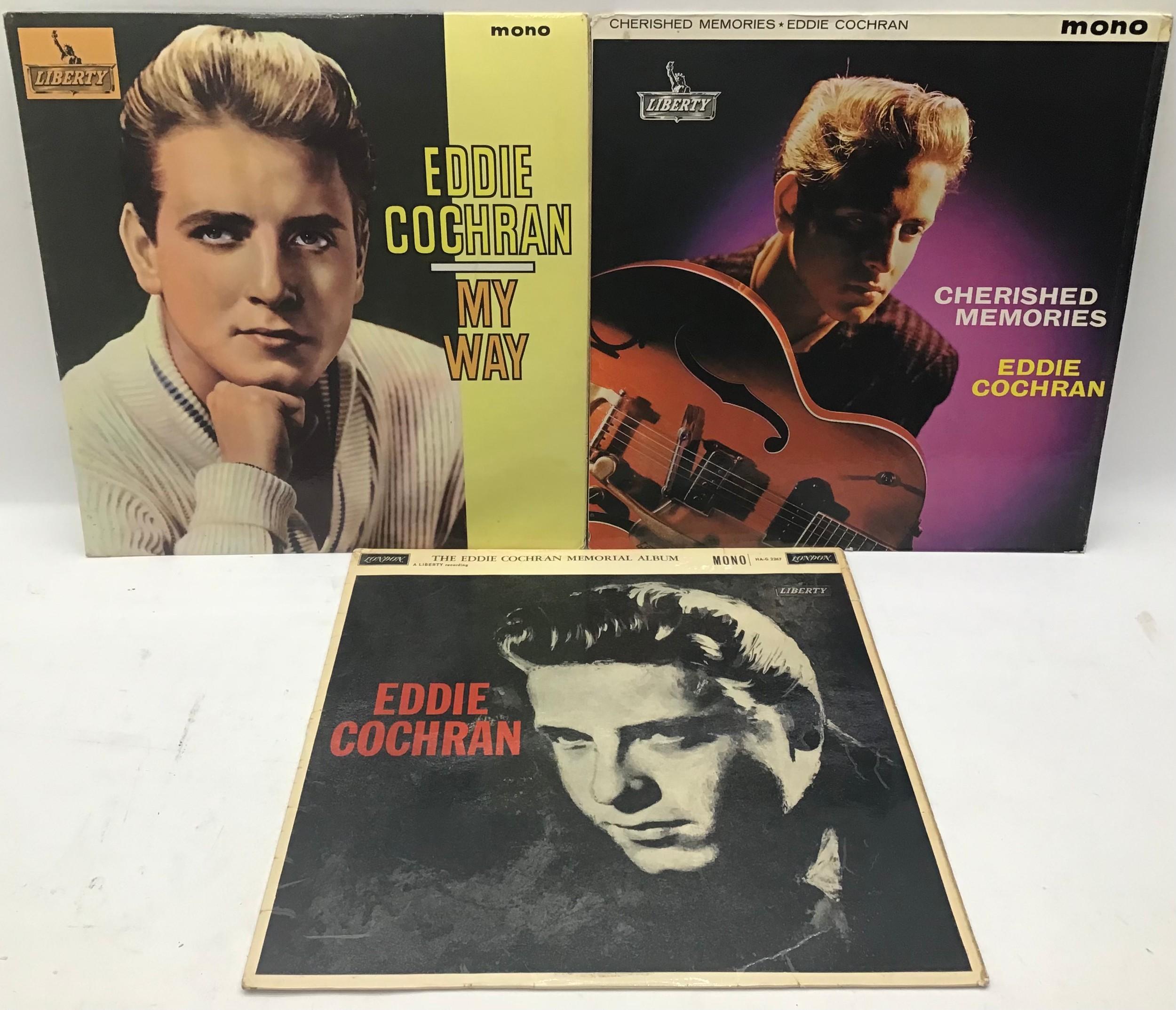 3 EDDIE COCHRAN original vinyl LP records. Album titles as follows : My Way - Cherished Memories and