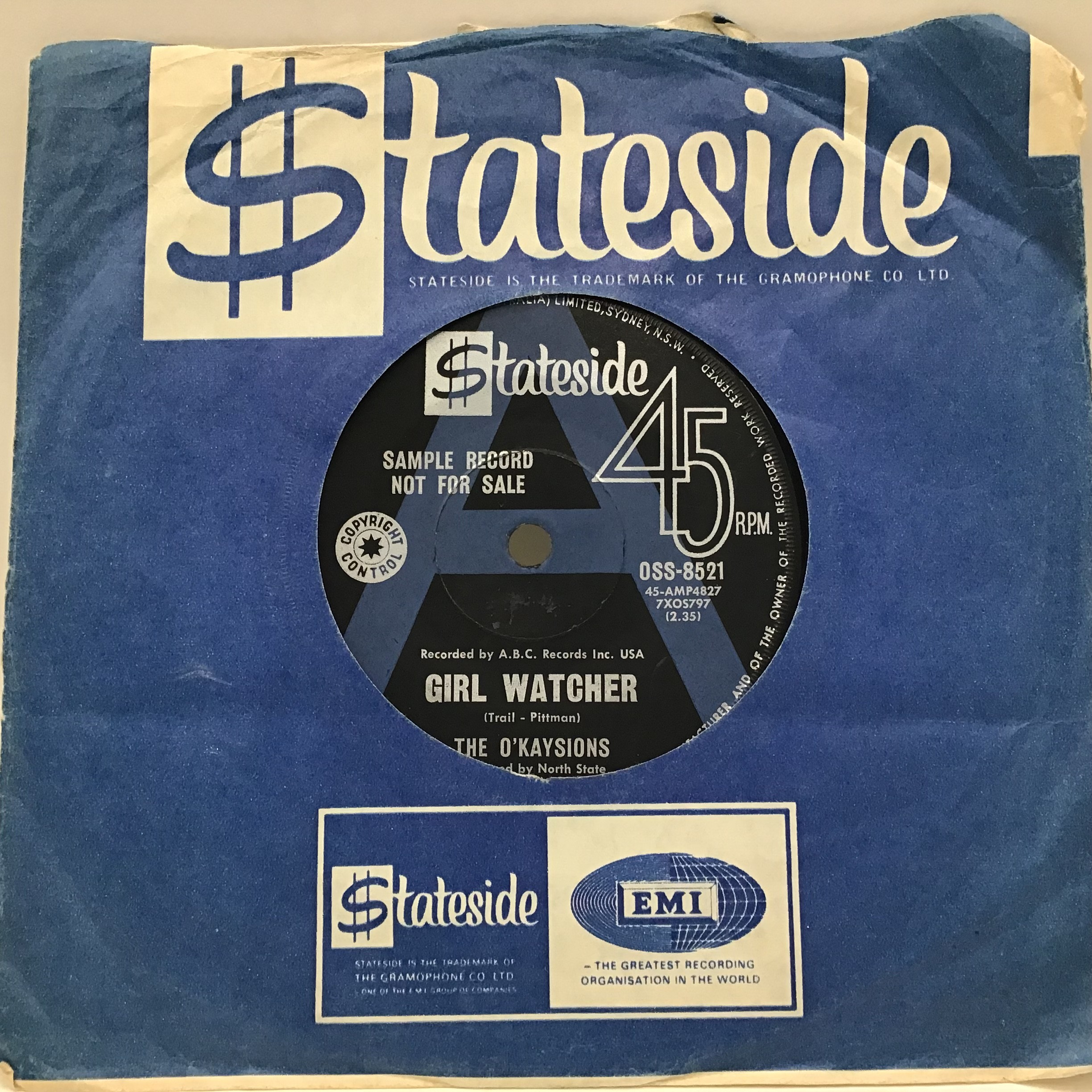 The O kaysions - Girl Watcher / Deal Me In 7? vinyl single from 1968 on Australian Stateside