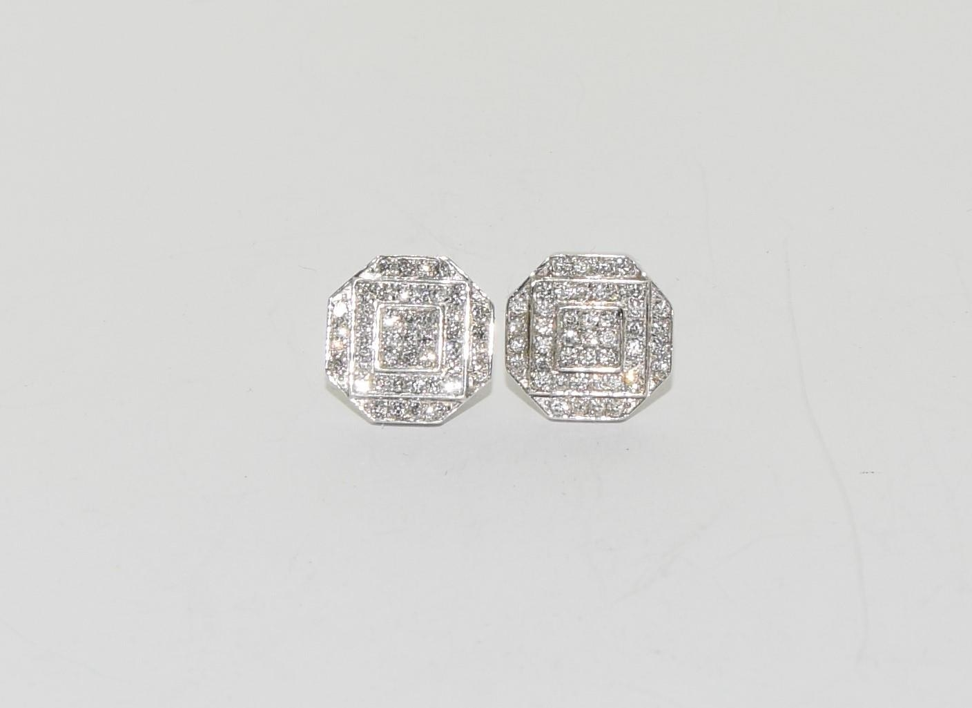 Pair of 14ct white gold cluster diamond earrings of approx 1ct - Image 5 of 5