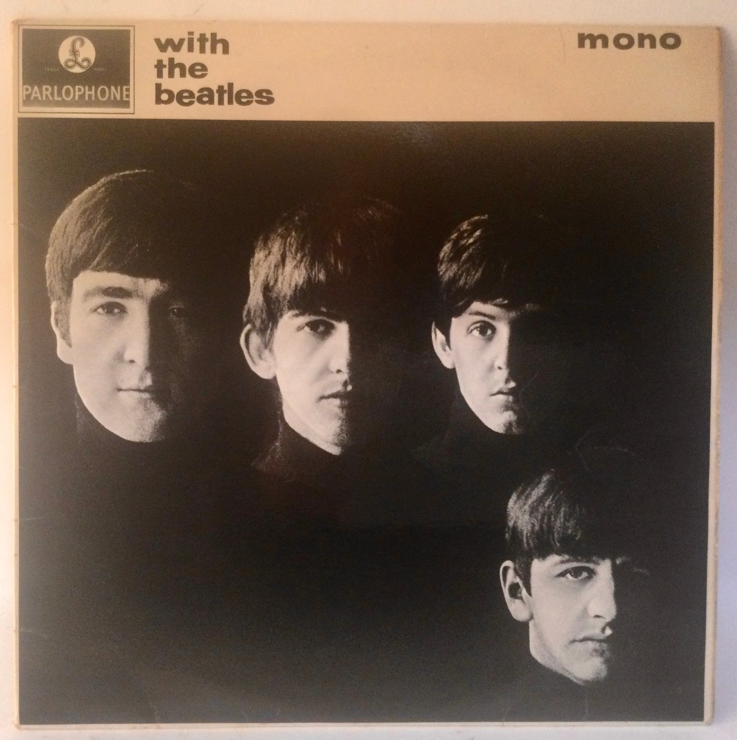 BEATLES 'WITH THE BEATLES' LP RECORD. Spelling mistake here on side 2 label with 'Got A' instead