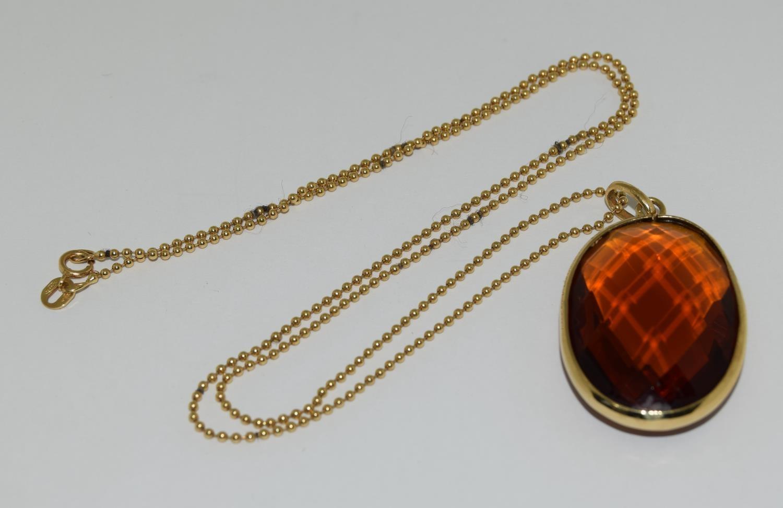 Gold amber quartz pendant necklace. - Image 3 of 5
