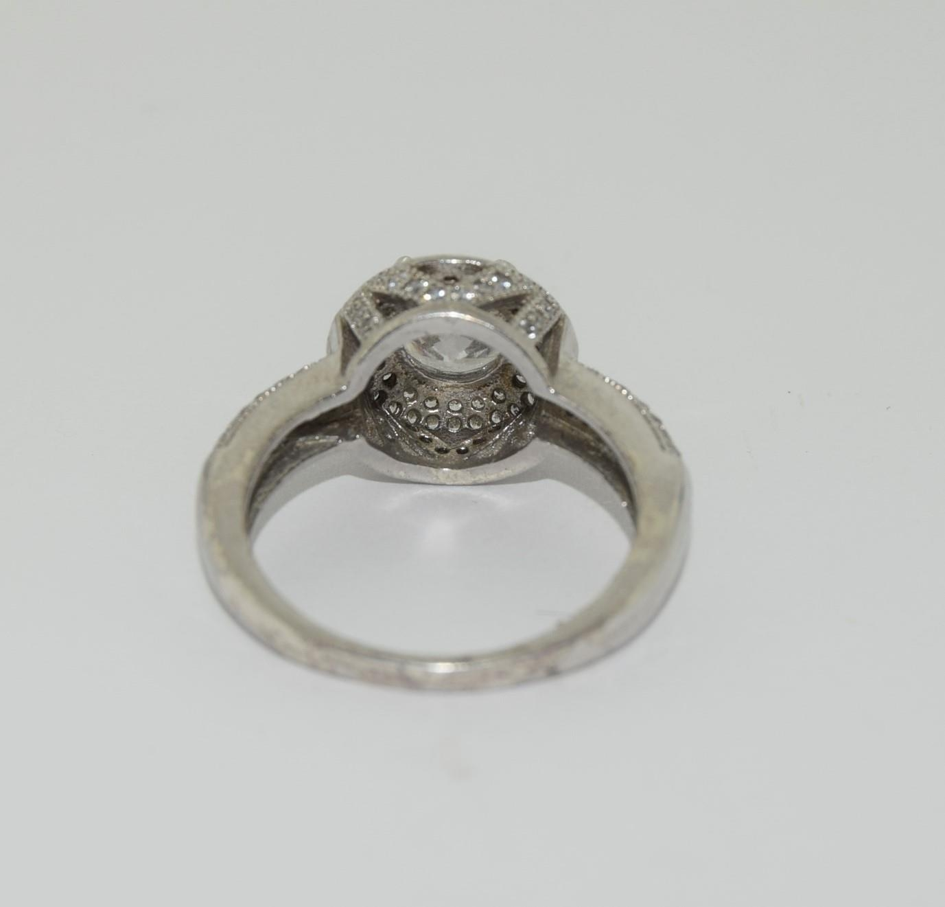 Silver ladies ring in the Halo style. Size P. - Image 3 of 3