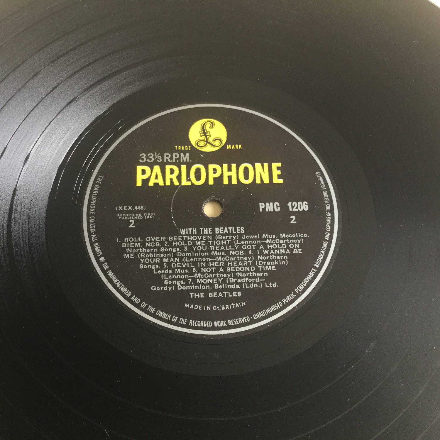 BEATLES 'WITH THE BEATLES' LP RECORD. Spelling mistake here on side 2 label with 'Got A' instead - Image 3 of 4