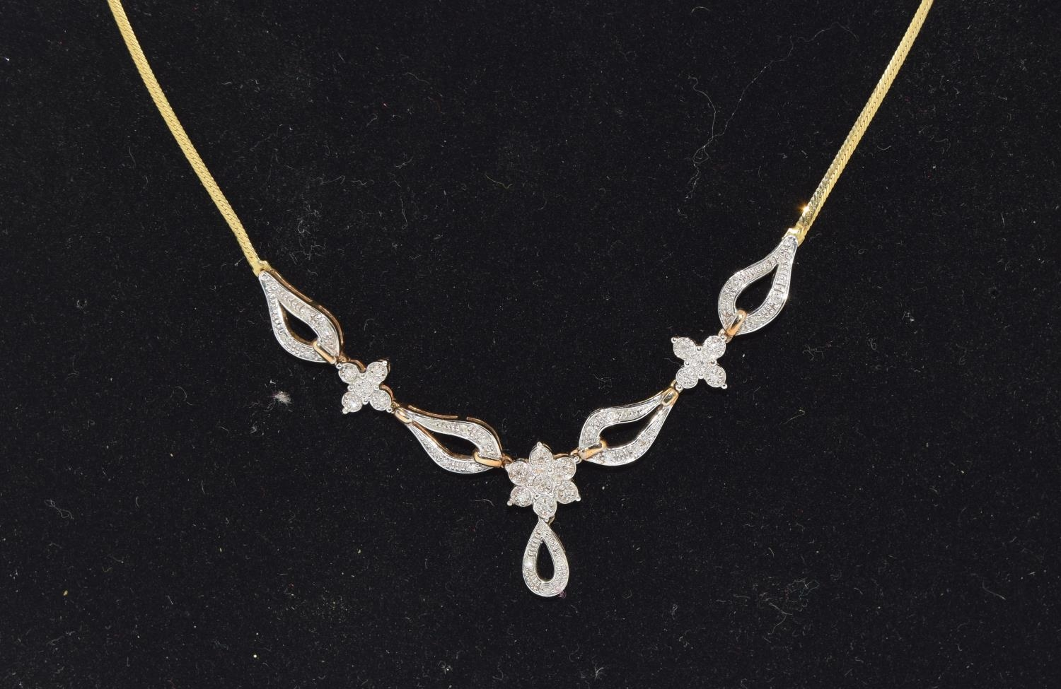 Diamond 9ct gold necklace, boxed