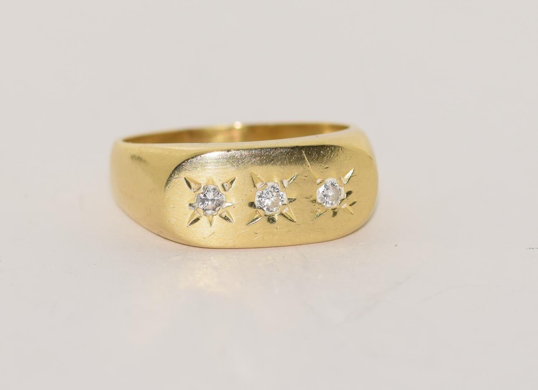 18ct gold Gypsy 3 stone diamond ring size S