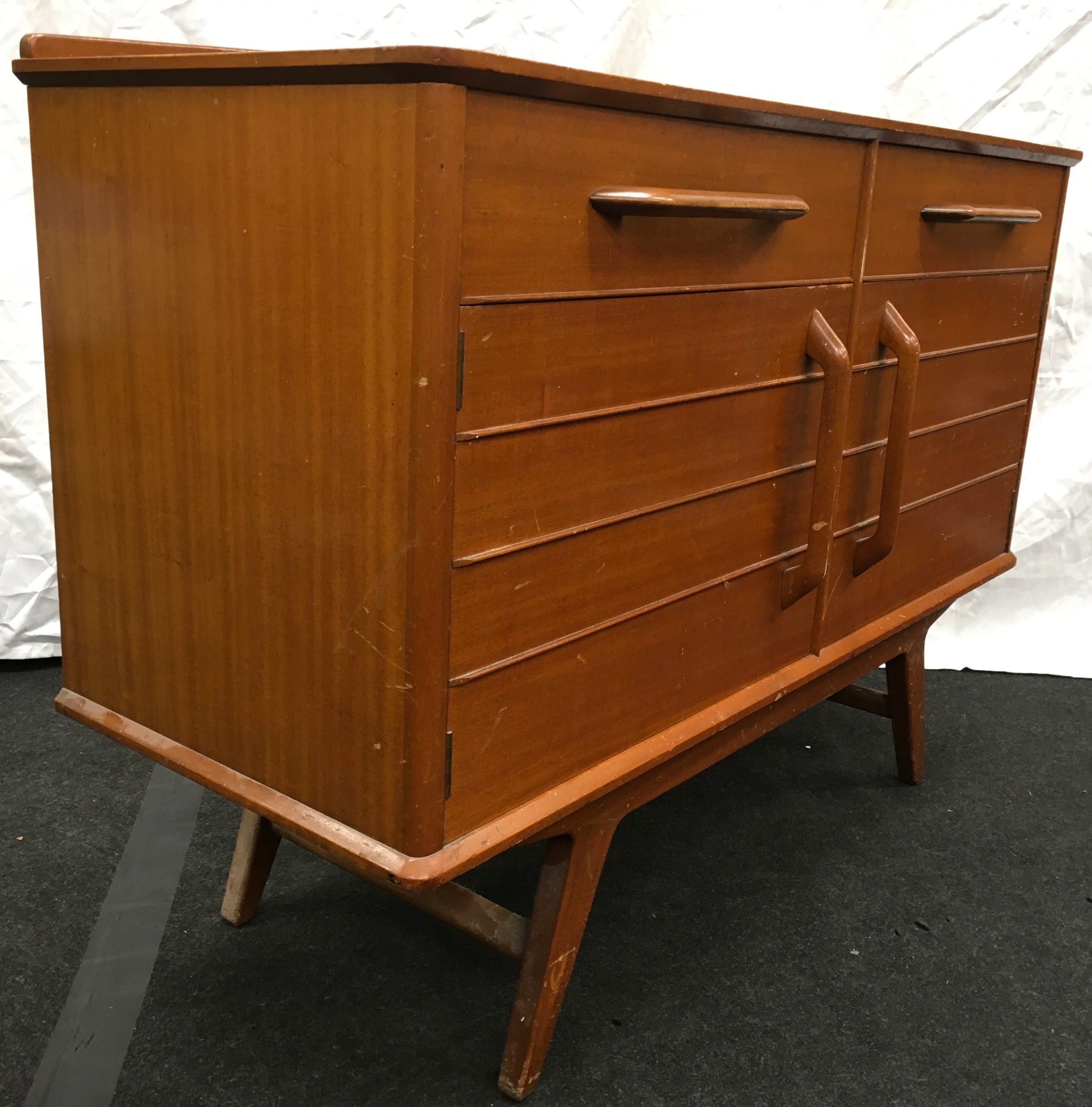 Teak mid 20th century two drawer two door sideboard by E Gomme Wycombe with makers mark 124x47x90cm. - Image 4 of 4