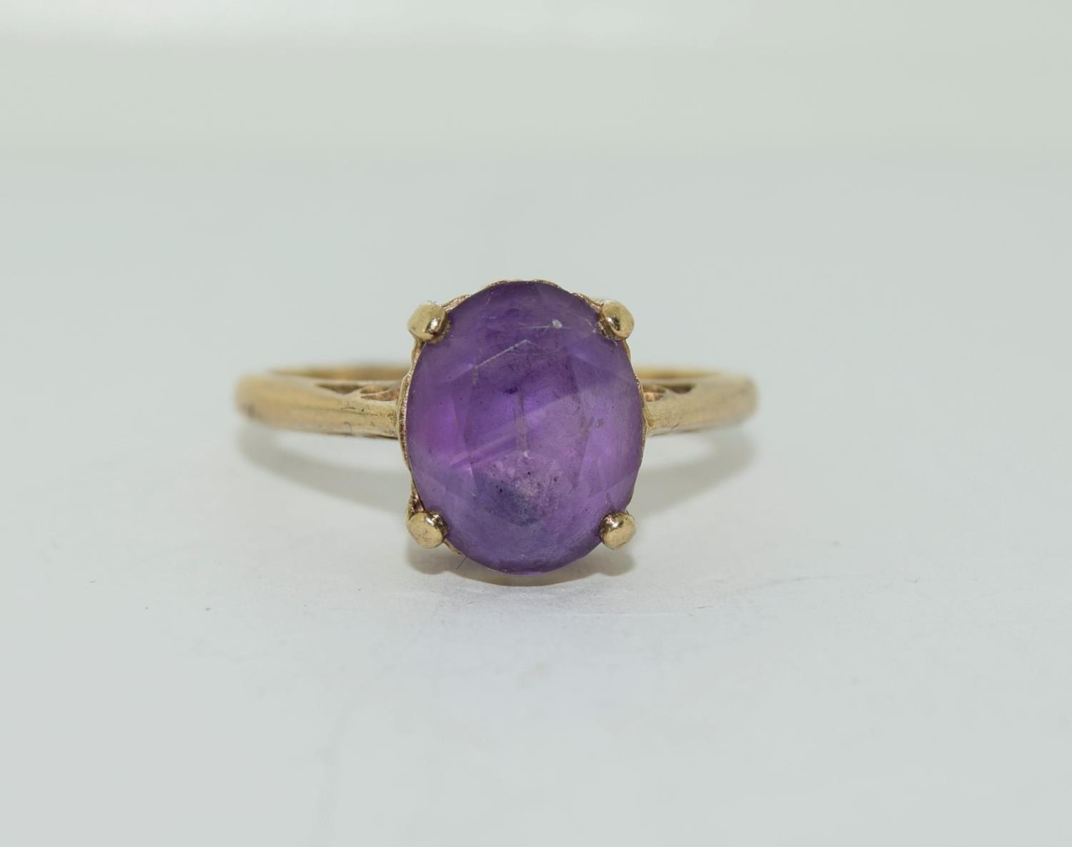 9ct gold ladies Amethyst ring size N - Image 2 of 12