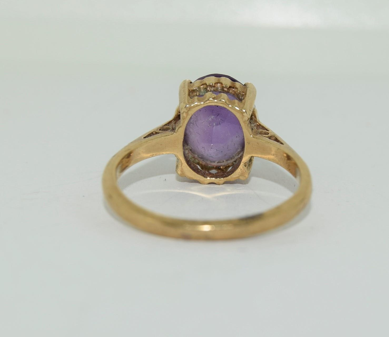 9ct gold ladies Amethyst ring size N - Image 5 of 12
