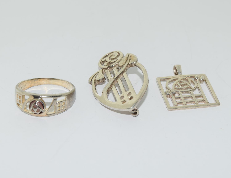Trio of Macintosh Scottish silver items