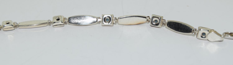 Princess cut amethyst 925 silver bracelet. - Image 3 of 3